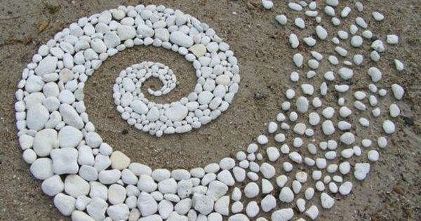 white river rock spiral | land art
