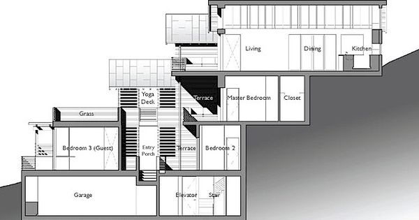 Example split level house built on steep slope click on for Steep slope home designs