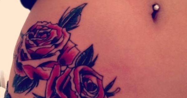 See more tattoo ideas on http://tattoosaddict.com/red-roses-tattoo-on-belly-078.html Red Roses Tattoo On Belly 078