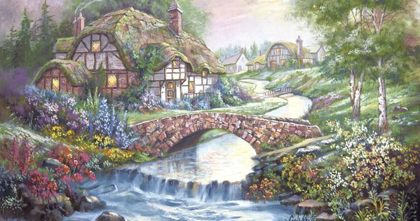 Claverly brook cottage by carl valente english countryside stone bridge stream floral - Countryside dream gardens ...