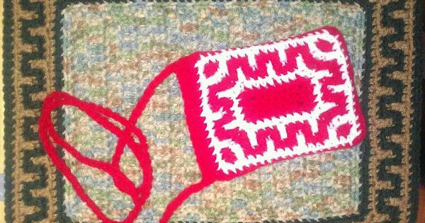Crochet Stitches Key : Greek Key Border Pouch, Part 1, Round 1 Crochet -- Stitch ...