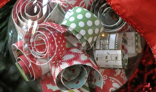 Paper Strips Handmade Ornament: could use wrapping paper scraps!