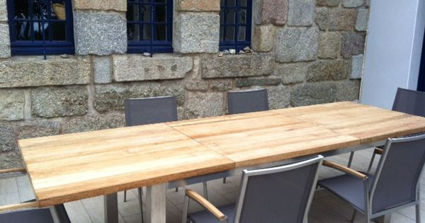 Granit teck inox table d 39 exterieur et chaises for Meuble bar exterieur teck