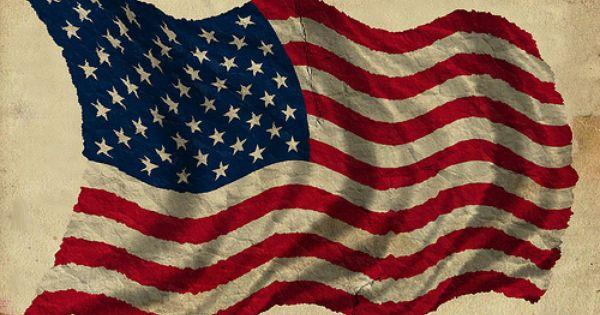Patriotic Old Worn Waving American Flag, Ragged Old Flag ...