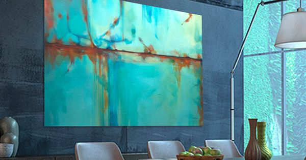 peinture abstraite large turquoise bleu vert orange par artoosh abstrait pinterest bleu. Black Bedroom Furniture Sets. Home Design Ideas