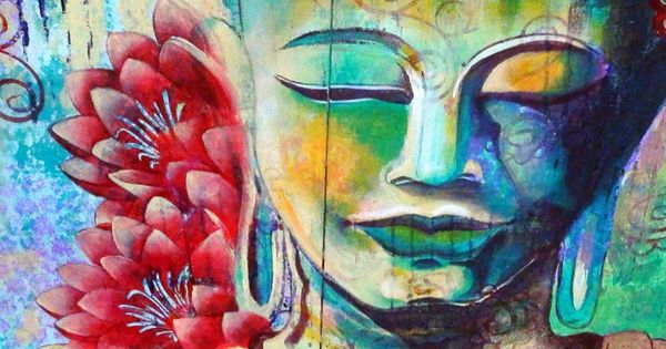 How to paint meditating buddha with two lotuses acrylic for How paint on canvas