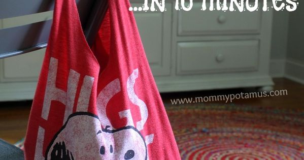 How to make an old t-shirt into a CUTE tote bag/ farmer's