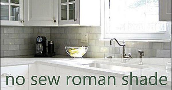 kitchen window, no sew roman shade from mini blind