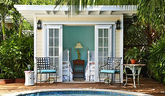 Love this small pool house and sweet tropical pool/landscaping...