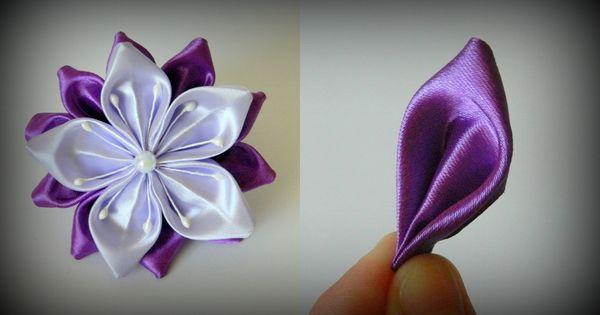 канзаши цветы из атласных лент мастер класс фото уроки