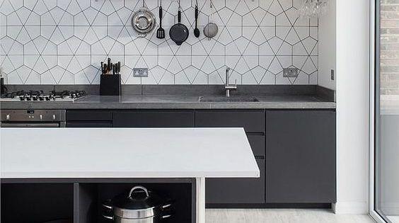 Azulejos cocina blancos hexagonales inspiraci n cocina - Azulejos hexagonales ...