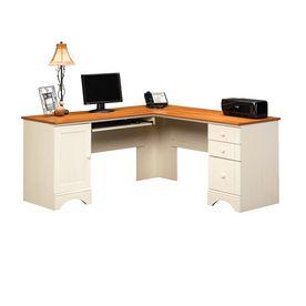Sauder Harbor View Antiqued White L Shaped Desk Corner Computer