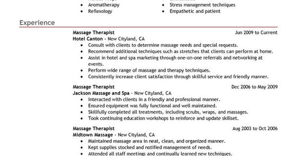 Massage Therapist Resume Sample - My Perfect Resume