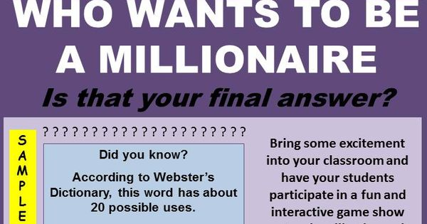 who wants to be a millionaire powerpoint template with music - classroom millionaire trivia game english language