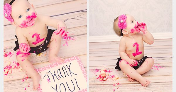 Little Girl One Year Cake Smash Photos - Deanne Mroz Photography. THANK