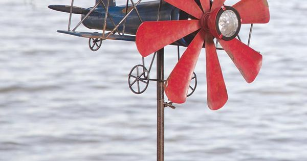 Biplane With Solar Light Metal Wind Spinner This Item