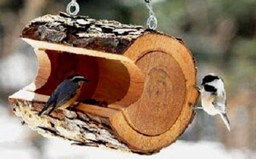 avec buche de bois jardin pinterest b ches oiseaux et mangeoires oiseaux. Black Bedroom Furniture Sets. Home Design Ideas