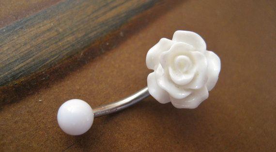 Rose Belly Button Ring Jewelry- White Rose Bud Rosebud Flower Navel Stud