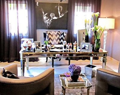 This is a beautiful office! Khloe Kardashian's Home Office - Mirrored desk,