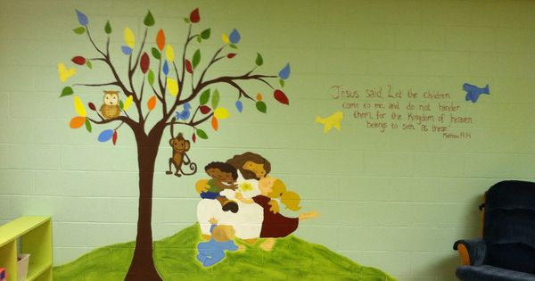 Church nursery mural sunday school room ideas for Church nursery mural