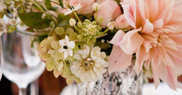 floral arrangement with blush accents, love it w mercury glass. blush colored