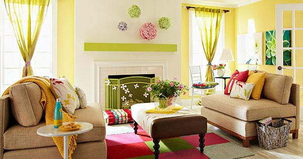 Before and after fresh spring living room decoracion for Decoracion hogar living