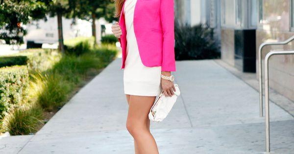 Pink blazer over white dress... Wow!