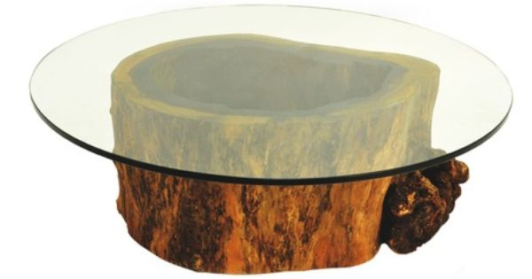 Hollow trunk coffee table round glass top coffee table Tree trunk coffee table glass top