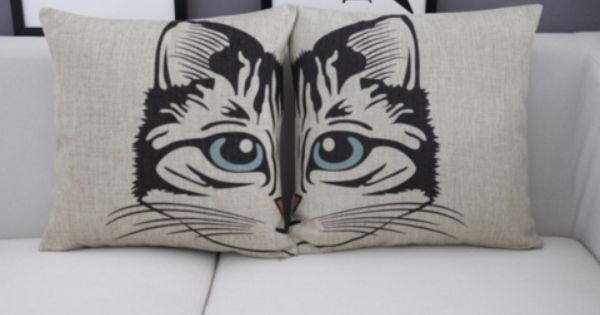 Half Face Cartoon Cat Pillow Cover Blue Moon Clouds Cat Pillow Pillows Pillow Covers