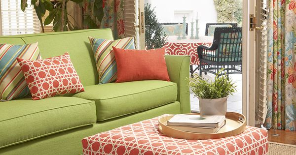 Coral And Lime Green Living Room Color Story Featuring