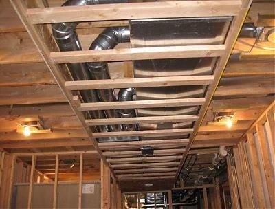 framing around duct work | basement ideas | Basement