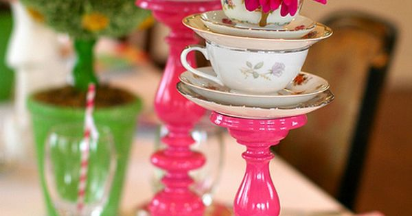 Alice in Wonderland themed tea party candlesticks