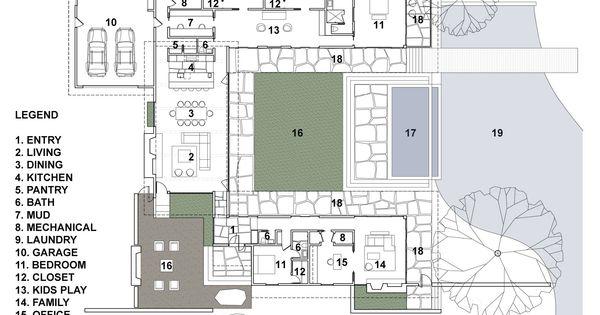casa de un piso construido en un rea de m tiene patio central como eje de construccin pisos dormitorio y planos