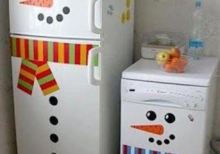 Frigo et lave linge d guis s en bonhomme de neige pour une for Bonhomme carrelage