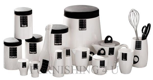 Tag Black White Kitchen Ceramic Storage Canisters Jars Set