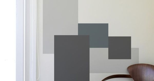 Paroi blik mina javid d calques gris g om trique moderne for Peinture graphique sur mur