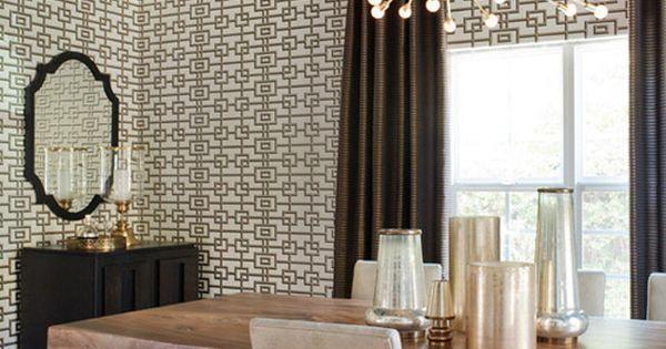 Sputnik Dining Room Trellis Wallpaper Black Ceiling