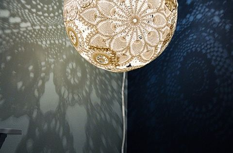 Decorating idea? lace doily lamp - so cool!