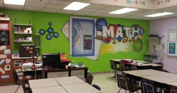 Math classroom mural leader in me pinterest math for Classroom wall mural