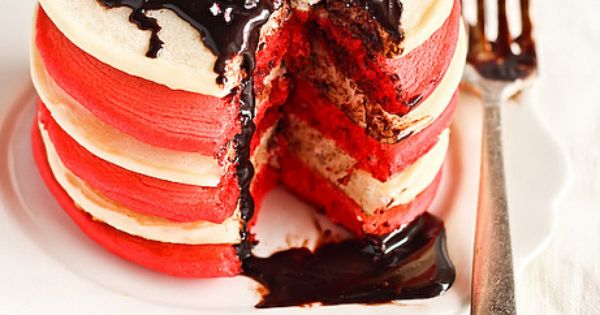 Red & White Christmas Pancakes with Candy Cane Chocolate Syrup by raspberri