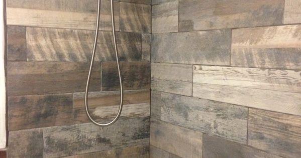 Rustic bathroom wood tile tub shower surround marazzi for Wood tile tub surround