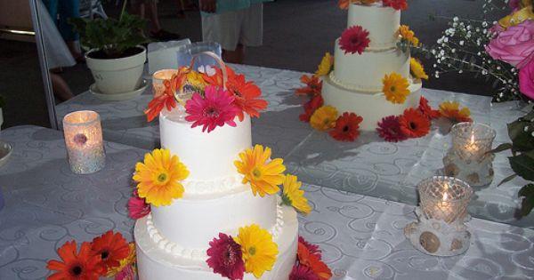 Gerber Daisy Wedding Cake Wilmington Nc Carolina Cakes Confections With Images Daisy Wedding Cakes Gerber Daisy Wedding Wedding Cakes With Cupcakes