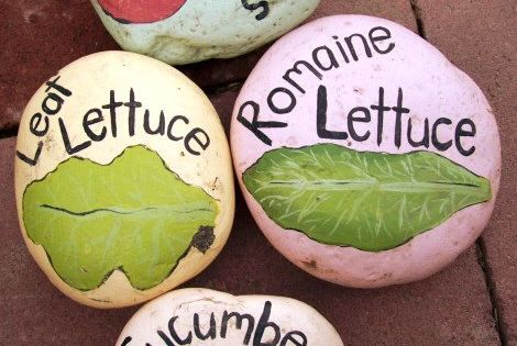 Painted rocks for garden markers. Such a cute idea.