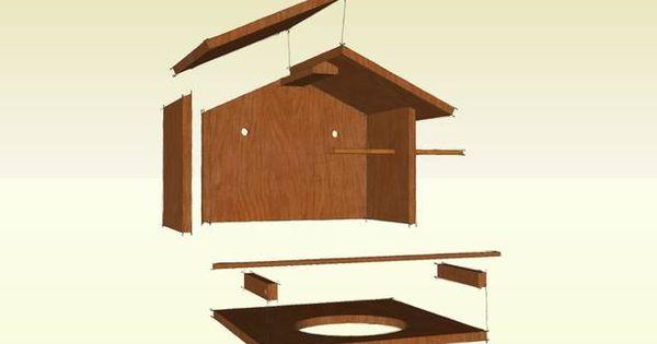 bauanleitung f r eine berdachte vogeltr nke bird feeder. Black Bedroom Furniture Sets. Home Design Ideas