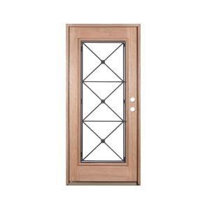 Exclusive Wood Doors 36 In X 80 In Operable Decorative Wrought Iron Unfinished Mahogany Left Hand Solid Wrought Iron Front Door Wood Exterior Door Wood Doors