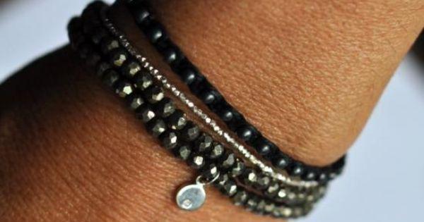 tiny sterling silver w/ black bracelet