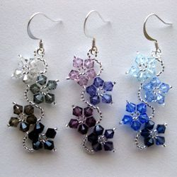 Handmade Sterling Silver Colorful Crystal Flower Earrings Usa Colorful Handmade Jewelry Beaded Jewelry Patterns Homemade Earrings