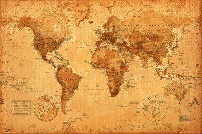 carte du monde grand format Carte du monde, style ancien Poster Grand Format 91.5 x 61 cm
