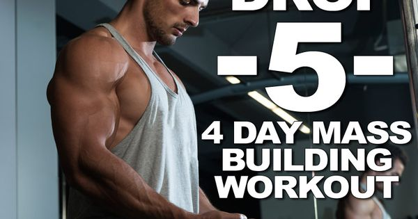 Drop 5 system: 4 day mass building workout split. Blast your body