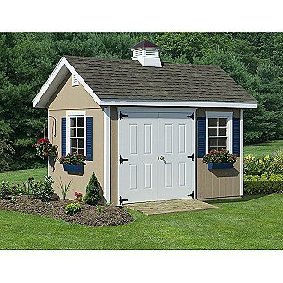 Garden Shed Kit 10 X 16 Unfinished Ready To Paint In Any Color Scheme Windows And Doors Pl Guest House Shed Garden Storage Shed Outdoor Storage Buildings